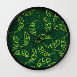 Pea pod seamless green pattern Wall Clock