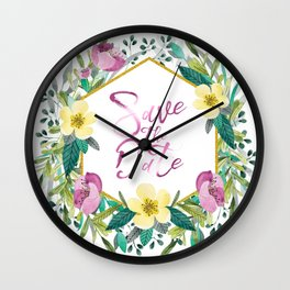 Colorful flowers wreath, Save the date Typography Wall Clock