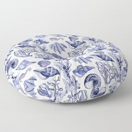 Vintage Nautical Illustrations in Blue Ink Floor Pillow
