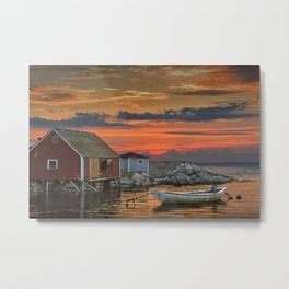 Last Light at Peggy's Cove Harbor Metal Print