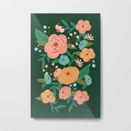 Painted Florals on Green Metal Print