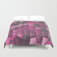 hot pink Duvet Covers featuring Hot Pink Mosaic by J&C Creations