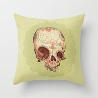 sugar skull Throw Pillows featuring Sugar Skull by Audrey Benjaminsen