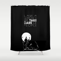 tokyo ghoul Shower Curtains featuring I am a Ghoul  by Touko Rabbit
