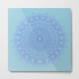 Bohemian Mandala in Beautiful Light Blues Metal Print