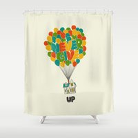 pixar Shower Curtains featuring Never give UP by I Love Doodle