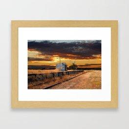 Sunset at the Coonawarra Rail Station Framed Art Print