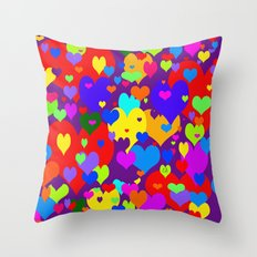 Mille coeurs gais Throw Pillow
