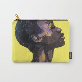 Portrait of Black Woman in yellow background Carry-All Pouch