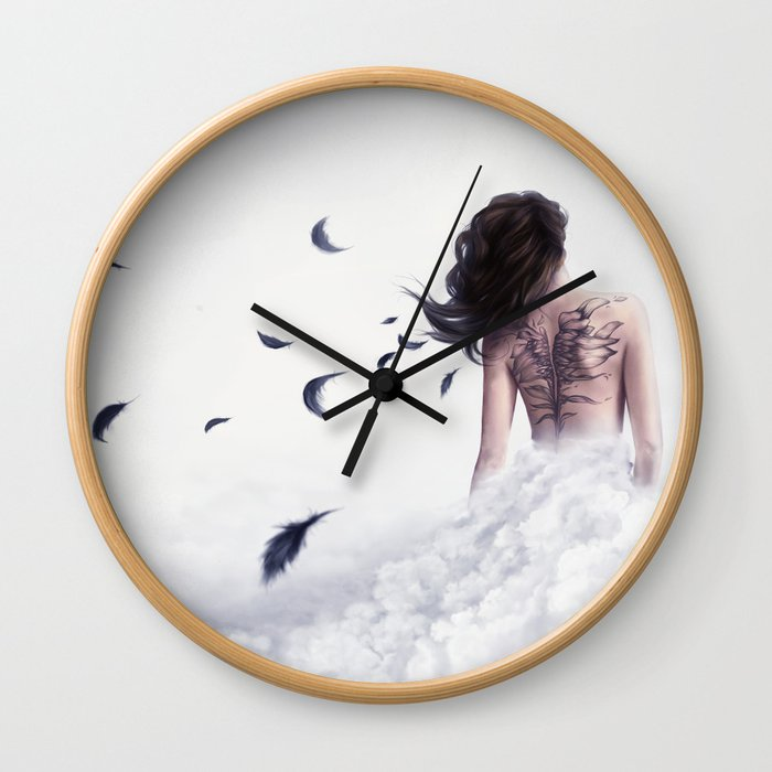 And I Shall Spread My Blackened Wings Wall Clock