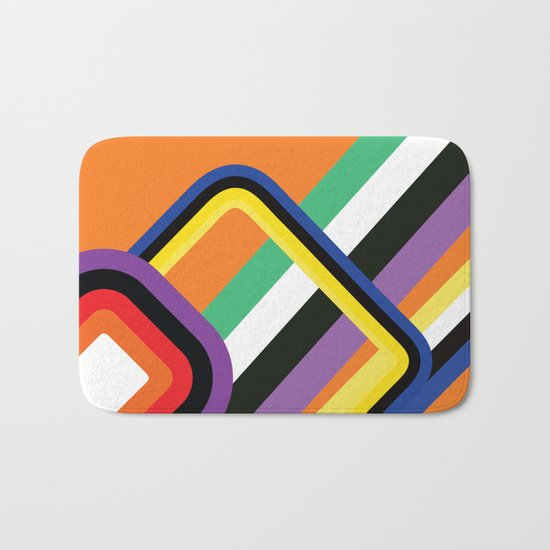 60s Geometric Shapes Bath Mat
