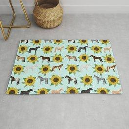 Horse, sunflowers, sunflowers, flowers, flower, mint, horses, cowgirl, texas Rug