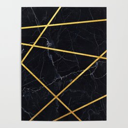 Black marble with gold lines Poster