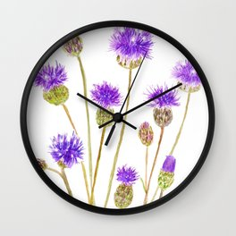 purple thorny wildflower Wall Clock