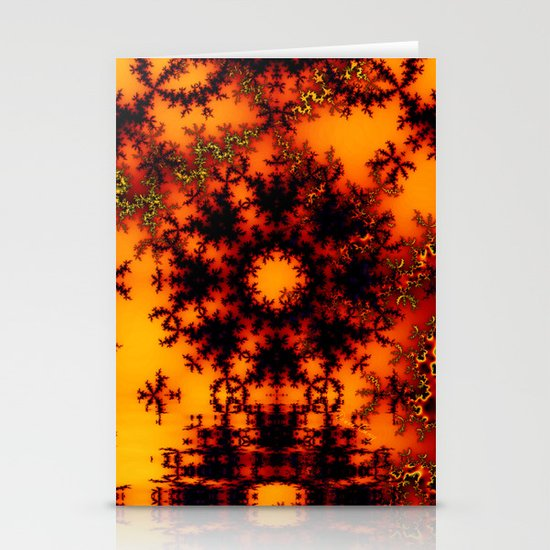 Mystical Golden Fire Lake, Abstract Fractal Baroque Illusion Stationery Cards