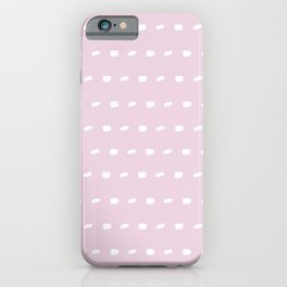 White sewing over pink background seamless surface pattern, broken horizontal lines iPhone Case