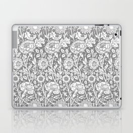 "William Morris Floral Pattern | ""Pink and Rose"" in Grey and White Laptop & iPad Skin"