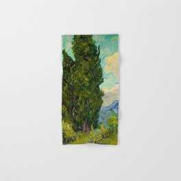 Cypresses Oil Painting Landscape Vincent van Gogh Hand & Bath Towel