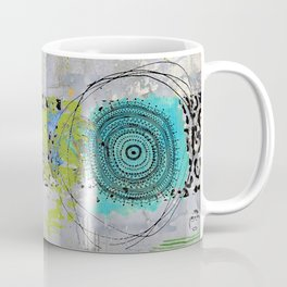 Teal & Lime Round Abstract Art Collage Coffee Mug