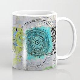 Teal & Lime Round Abstract Art Collage Coffee Mug