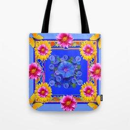 BUTTERFLIES FUCHSIA DAHLIA SUNFLOWER MORNING GLORY BLUE  FLORAL Tote Bag