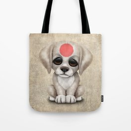 Cute Puppy Dog with flag of Japan Tote Bag