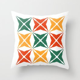 Three Colour Cannabis Leaves (Green Orange Yellow) Throw Pillow