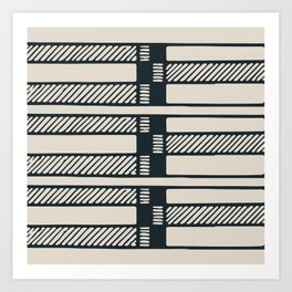 Lines, Seams and Buckles, (Charcoal and Cream) Art Print