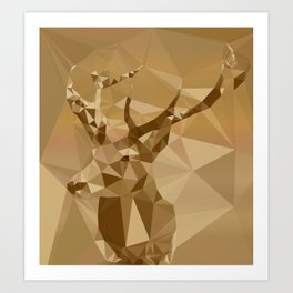 Digital Trophies II - Abstract Art Low Poly Animals Deer Art Print