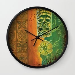 Tiki And Hibiscus Wall Clock