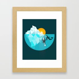 Arctic polar bear whale and nature conservation illustration Framed Art Print
