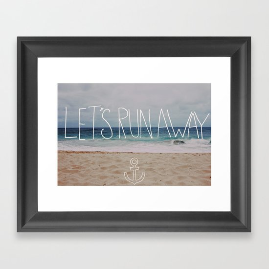 Let's Run Away: Sandy Beach, Hawaii Framed Art Print
