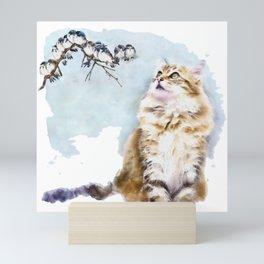 Cute Cat on the Lurk Watercolor Painting Mini Art Print