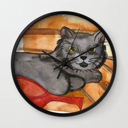 Cat in the Sauna Wall Clock