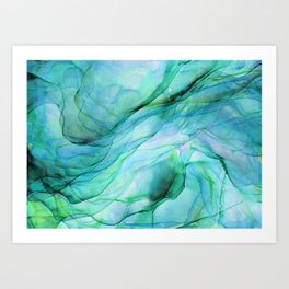 Sea Green Flowing Waves Abstract Ink Painting Art Print