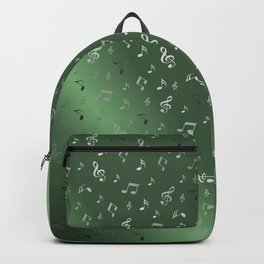 silver music notes metall green Backpack