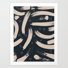 Paint Strokes Pattern - Navy, Blueberry, and Light Sand Colours Art Print