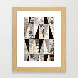 Marble Triangles - Black and White Framed Art Print