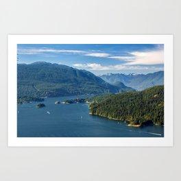 Burrard Inlet, Indian Arm  and beautiful sky Art Print