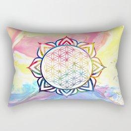 Rainbow Lotus Flower of Life Mandala Rectangular Pillow