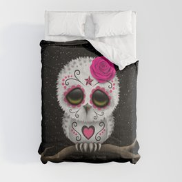 Adorable Pink Day of the Dead Sugar Skull Owl Comforters