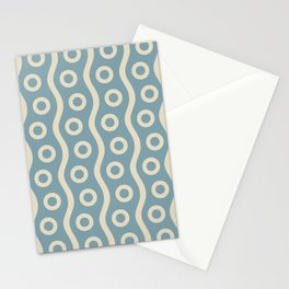 Mid Century Modern Rising Bubbles Pattern 2 Blue and Cream Stationery Cards