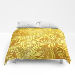 Gold Floral Pattern Comforters