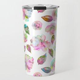 Modern elegant hand painted girly roses leaves pattern Travel Mug