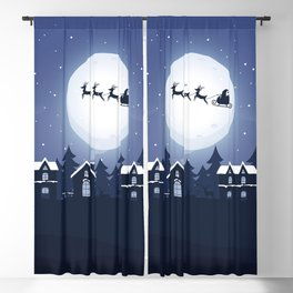Santa Claus and Sleigh With Reindeer Blackout Curtain