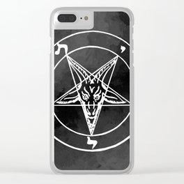 Satanic Pentagram - Black Watercolor Clear iPhone Case