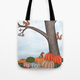 heirloom pumpkins, squirrels, & the oak tree Tote Bag