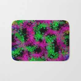 Multicolored delicate pastel purple circles and green ellipses depicting abstract ornamental blue fl Bath Mat