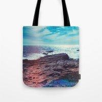 salt water Tote Bags featuring Salt Water by Viviana Gonzalez