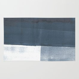 Blue and White Minimalist Abstract Landscape Rug